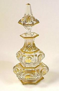 Baccarat Gilt Cut Crystal Napoleon lll Cologne Bottle - Perfume