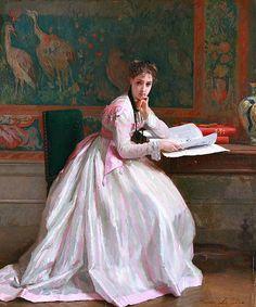 Gustave de Jonghe (1829–1893) Woman Reading 1868