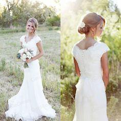 Simple Modest Wedding Dress Bridal Gowns Mermaid Lace Cap Sleeve Designer Sale
