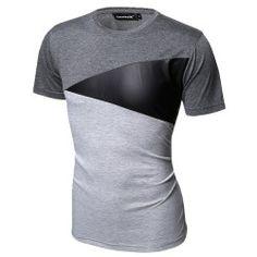 3b90a3010be0f Camiseta Retalho Geometrica Masculina Casual Festa Club Fashion em Couro