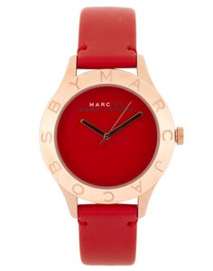 Marc by Marc Jacobs red leather strap with rose gold face watch
