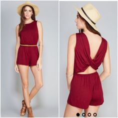 NWT burgundy twist back romper Brand new. Available in small, medium size Contempo Casuals Pants Jumpsuits & Rompers