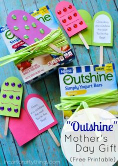 "Show your Mom and Grandma that they ""Outshine"" the rest with this fun and simple DIY Mother's Day Gift. Simple enough for kids to make on their own. The Fruit Bar Card is included as a printable in the post."
