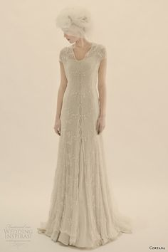 Cortana Bridal 2015 Wedding Dresses  | Short sleeve silk tulle and cotton lace coatdress with silk covered ...