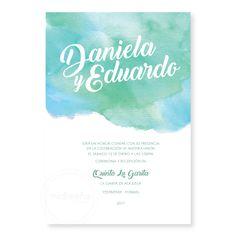 Invitaciones Acuarelas - Invitaciones Mi Diseño Costa Rica www.invitacionescr.com #wedding #invitations #watercolor
