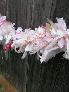 Handmade Fabric Garland Rag Swag Nursery Decor Pink by misshettie Bow Garland, Mantle Garland, Easter Garland, Fabric Garland, Fabric Decor, Fabric Crafts, Diy Crafts, Wreath Crafts, Bridal Shower Decorations