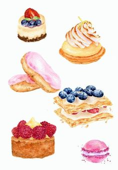 French Pastries - Illustration by ForestSpiritArt Dessert Illustration, Food Sketch, Watercolor Food, Watercolour, Food Painting, Food Drawing, French Pastries, Food Illustrations, Cute Food