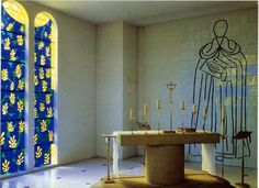 Ville de Vence - Matisse Chapel in South of France. An entire chapel designed by Matisse from furniture to stained glass. Matisse fell ill and was nursed back to health by nuns and thanked them by building them this charming chapel - Chapelle du Rosaire de Vence.
