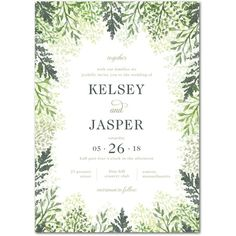 Graceful Lavender - Signature White Wedding Invitations - Lady Jae - Evergreen - Green : Front