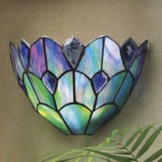 Remote Control Stained Glass Sconce from Midnight Velvet®. An artful accent that can completely transform a room, this exquisite, hand-pieced stained glass light hugs the wall. Stained Glass Light, Stained Glass Patterns, Stained Glass Windows, Leaded Glass, Mosaic Glass, Fused Glass, Farmhouse Wall Sconces, Candle Wall Sconces, Wireless Wall Sconce
