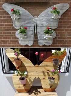 Reuse old pallet wood and create butterfly shaped wall stand for planters display. Reuse old pallet wood and create butterfly shaped wall stand for planters display. Old Pallets, Recycled Pallets, Wooden Pallets, Pallet Wood, Pallet Walls, Pallet Crafts, Diy Pallet Projects, Wood Crafts, Diy Crafts
