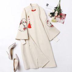 1940s Fashion, Japan Fashion, China Fashion, Iranian Women Fashion, Korean Fashion, Modest Fashion, Fashion Dresses, Kimono Design, Embroidery Fashion