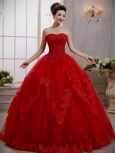 Red wedding dresses and why they are a good choice red wedding dresses 65 sweetheart lace beading ball gown wedding dress zkchlne Cheap Prom Dresses, Quinceanera Dresses, Ball Dresses, Ball Gowns, 15 Dresses, Red Wedding Gowns, Princess Wedding Dresses, Princess Gowns, Royal Princess
