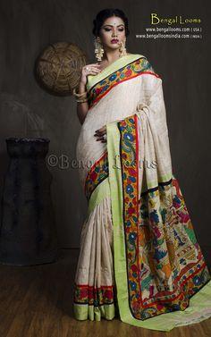 Hand Painted Kalamkari Patch Border Gicha Saree in Beige and Green Saree Blouse, Sari, Women Clothing Stores Online, Kalamkari Saree, Cotton Saree, Indian Sarees, Bengal, Traditional Dresses, Casual Wear
