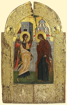 Detailed view: PP023. Royal Doors with the Annunciation- exhibited at the Temple Gallery, specialists in Russian icons