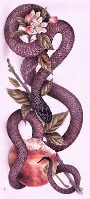 Snake and apple Black Ink Tattoos, Body Art Tattoos, Cool Tattoos, Apple Tattoo, Petit Tattoo, Snake Art, Snake Tattoo, Art Inspo, Amazing Art