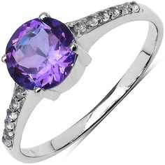 A brilliant round amethyst gemstone shines brightly along with 12 surrounding white topaz accent stones in this classic looking sterling silver ring. We currently offer this great value in sizes 6, 7,