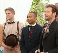 Hodgins (TJ Thyne), Wendell Bray (Michael Grant Terry),and Dr.Clark Edison(Eugene Byrd,C) at B&B's Wedding. 10/21/2013