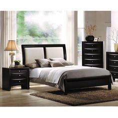 Overstock.com Ireland White Queen Bed with Black Headboard