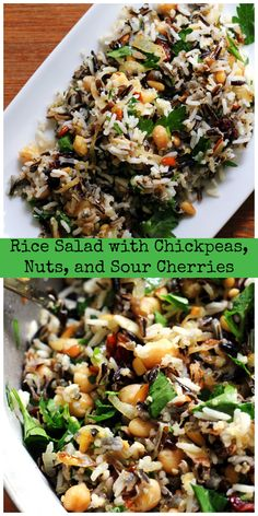 This clean-out-your-pantry rice salad with nuts, chickpeas, and sour cherries makes for a festive and flavorful side dish or vegetarian main meal.