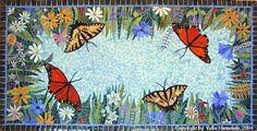Mosaic table top butterflies