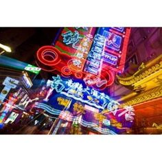 China Shanghai Nanjing Road Neon signs Canvas Art - Miva Stock DanitaDelimont (17 x 11)