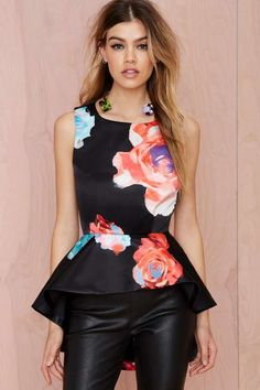 Nasty Gal Bloom and Board Peplum Top - Valentine's Day Shop