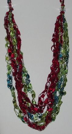 Ladder Yarn Necklace  Red and Sparkling Green by AlysaMerle, $7.50