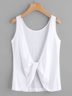 Shop Twist Knot Back Tank Top online. SheIn offers Twist Knot Back Tank Top & more to fit your fashionable needs. Romwe, Trendy Outfits, Fashion Outfits, Schneider, White Tank, White White, Latest Fashion For Women, Diy Clothes, Fashion News
