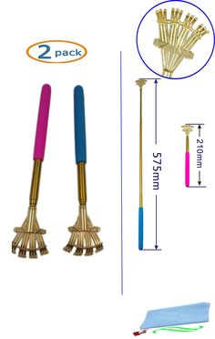"SinLoon Portable Extendable Telescopic Stainless steel rake scratching Metal Back Scratchers/hand massager/backslap With Rubber Handles(2-PACK,Blue-Pink). This product is unique, rake shape, stainless steel quality, quality assurance!. Handle material: rubber grip, the use of soft and comfortable. Retractable:Come in 2 assorted colors 8 1/2"" retracted, 22 1/2"" fully extended rake shaped hand for great ,You do not need to ask for help tickle. Safe convenient and comfortable, ideal for..."