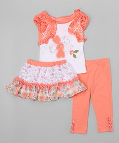 Another great find on #zulily! Coral Butterfly Shrug Tee Set - Toddler & Girls by Nannette Girl #zulilyfinds