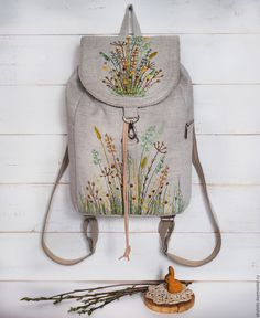 Backpack with wildflowers embroidery