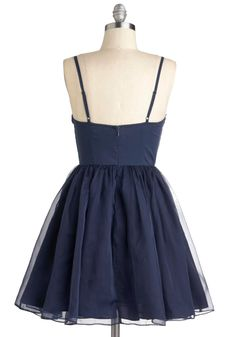 Navy Too Late Dress. Its never too late to learn to dance, so drape this navy, spaghetti-strapped, A-line dress over your frame, and bring a pal with you to tonights swing club! #blue #prom #modcloth
