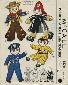 Vintage Sewing Pattern for Sock Dolls | Cowboy, Fireman, Policeman, Baseball Player | McCall 1576 | Year 1950 | Size 14""