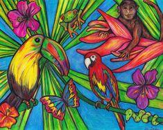Rainforest Wildlife 8 X 10 Print Wall Art by MuzettasWaltz
