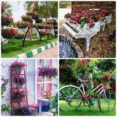 10 ideias lindas para decoração de jardim | Como fazer em casa Garden Projects, Projects To Try, Plastic Bottle Planter, Vase, Recycled Art, Art Activities, Pergola, Recycling, Planters
