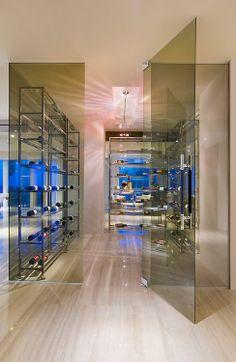 Modern Glass Wine Room in Miami Beach Florida. Double walk-in wine room. Wine Cellar Modern, Glass Wine Cellar, Home Wine Cellars, Wine Cellar Design, Miami Beach, Caves, Cellar Inspiration, Armoire, Wine Storage