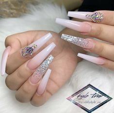 with  ・・・ Beautiful color nude by  Bling Acrylic Nails, Gold Glitter Nails, Summer Acrylic Nails, Best Acrylic Nails, Rhinestone Nails, Bling Nails, Swag Nails, Grunge Nails, Sweet 16 Nails