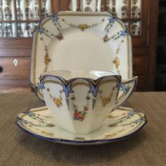 SHELLEY Queen Anne BLUE Garland Of Fruit Trio Tea Cup Saucer Plate #SE526 More