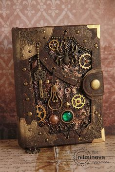"Steampunk notebook A6 blank journal diary ""Cellar Spirit"" by nilminova on Etsy"