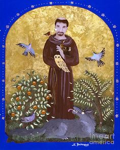 St. Francis And The Wolf Print by Sue Betanzos