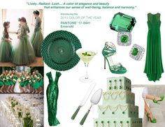 SOCO Events Trend Report Emerald Green Panton Color of the Year. Features our Emerald Green Pearlized Bridal Set