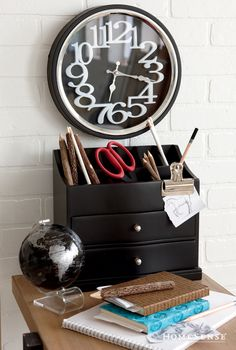 Clock with big numbers, world globe, box with drawers and open at the top Cozy Home Office, Tiny Office, Home Office Space, Home Office Design, Office Decor, Small Space Organization, Household Organization, Desk Arrangements, Homesense