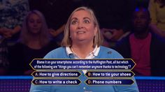 """Monday, Holly Gray is given a #HuffPo #smartphone test as an all-new week begins on #MillionaireTV. Will she give host Chris Harrison the correct #FinalAnswer? Don't miss Monday's """"Millionaire"""" and find out. Go to www.millionairetv.com for time and channel to watch."""