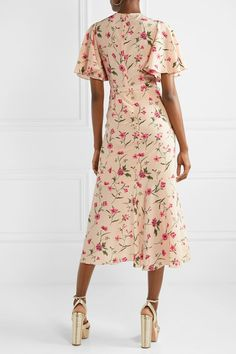 Multicolored silk crepe de chine Concealed hook and zip fastening at back silk Dry clean Made in Italy Pink Midi Dress, Ruffle Dress, Midi Dresses, Floral Dresses, Winter Formal Dresses, Summer Dresses, Dress First, New Dress, One Piece Gown