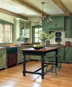 Lovely sage green cabinets in this farmhouse kitchen. Lovely sage green cabinets in this farmhouse kitchen. Image Size: 729 x 960 Source Green Kitchen Cabinets, New Kitchen, Kitchen Decor, Kitchen Remodel, Home Kitchens, Country Kitchen Designs, Kitchen Interior, Rustic Kitchen Cabinets, Kitchen Inspirations