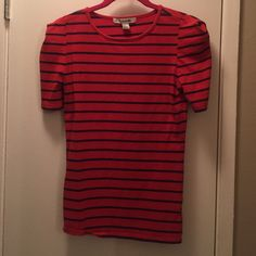 Red and blue striped tee Great condition! Only worn once. Form fitting adorable tee Forever 21 Tops Tees - Short Sleeve