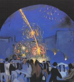 Fiesta in Figueres, 1914-1916			- Salvador Dali - by style - Post-Impressionism