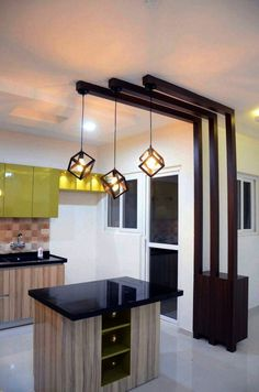 Modern open island kitchen by Interior Elements Add pretty pendant lights to your kitchen with an island // modern open small kitchen with pendant lights and light fixtures House Ceiling Design, Ceiling Design Living Room, Bedroom False Ceiling Design, Home Room Design, Living Room Designs, Living Room Decor, House Design, Kitchen Ceiling Design, Living Room Divider