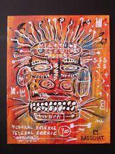 JEAN MICHEL BASQUIAT PAINTING ON CARDBOARD Basquiat Artist, Jean Michel Basquiat, Bansky, Tape Art, Warhol, Expressionism, American Artists, Aliens, Folk Art